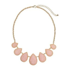 Gold Statement Necklace with Pink Stones